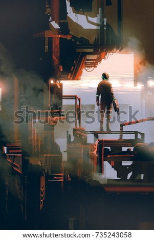 space man standing in industrial building, digital art style, illustration painting
