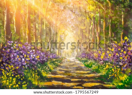 Oil painting forest landscape, beautiful solar road in the woods on canvas. Sunny summer in alley park forest fine art modern.