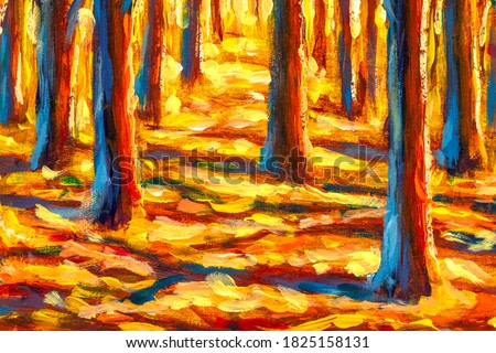 Original impressionism oil painting Gold autumn tree in forest park alley paintings monet nature claude