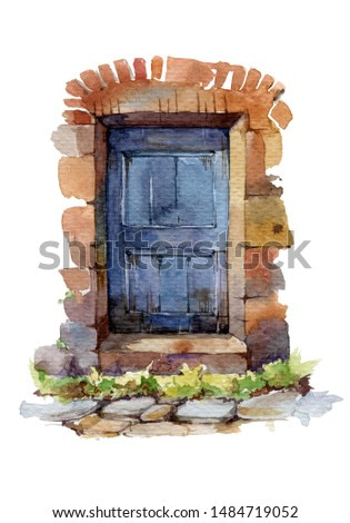 Old blue franch door watercolor illustration. Vintage wooden entrance with stone arch and steps. Isolated on white background.