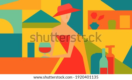 Vector illustration of a woman in a red dress drinks wine in a cafe by the sea. Cubism. Abstract art.
