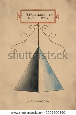 Pyramid. Watercolor painting on watercolor paper. Vintage effect. Geometric object. Art print for interior, gallery, digital screens etc. Extrimely High quality image for printing. 600 dpi.