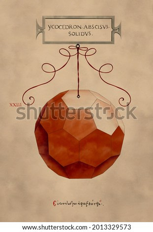 A Solid Cut Ycocedron. Watercolor painting on watercolor paper. Vintage effect. Geometric object. Art print for interior, gallery, digital screens. Extremely High quality image for printing. 600 dpi.