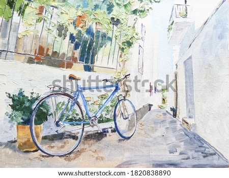 blue Bicycle in a quiet cozy courtyard, oil on canvas