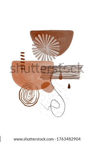 Abstract Boho Shapes Print.  Modern minimalist art. Boho graphic design. Neutral pastel and terracotta colors.