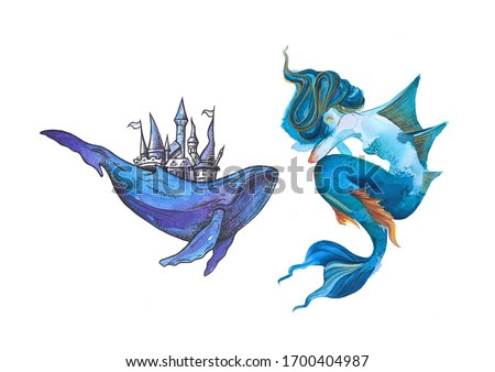 Vintage graphic watercolor illustration with mermaid and whale with castle
