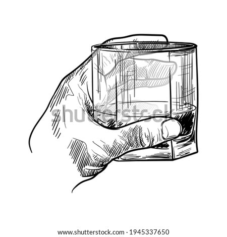 Male hand holding a whiskey glass. Black linear sketch isolated on white background. EPS10 vector illustration