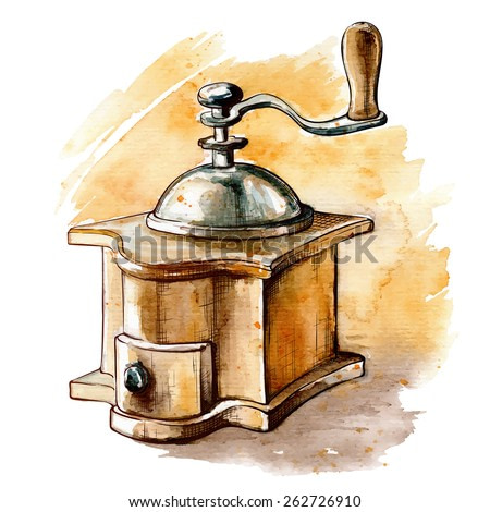 Old-fashioned manual coffee burr-mill. Outline sketch with a watercolor traced background in a separate layer. EPS 10 vector illustration.