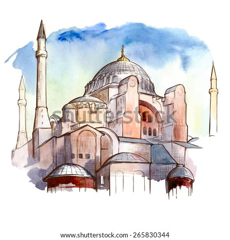 Istanbul travel notes - panorama with Hagia Sophia Cathedral. Traced watercolor sketch with a line drawing in a separate layer above. EPS10 vector illustration.