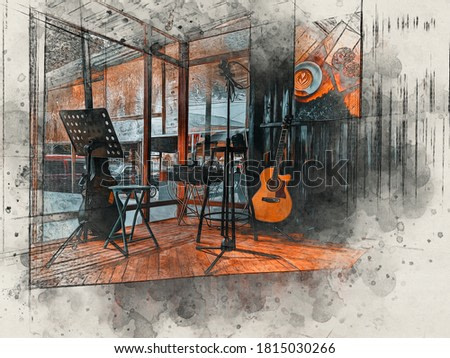 musical instrument in coffee shop with watercolor background, colorful oil painting