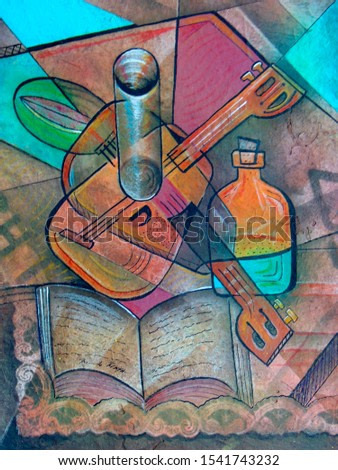Cubism Still life Painting. Picasso Style art.