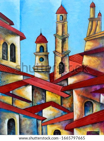 Cubist cityscape painting modern abstract design