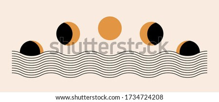 Abstract contemporary aesthetic background with Moon phases, geometric waves. Black and golden colors. Boho wall decor. Mid century modern minimalist art print. Organic natural shape. Magic concept.