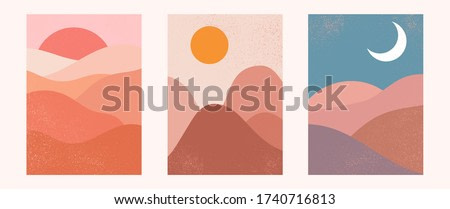 Abstract contemporary aesthetic backgrounds landscapes set with sunrise, sunset, night. Earth tones, pastel colors. Boho wall decor. Mid century modern minimalist art print. Flat design.
