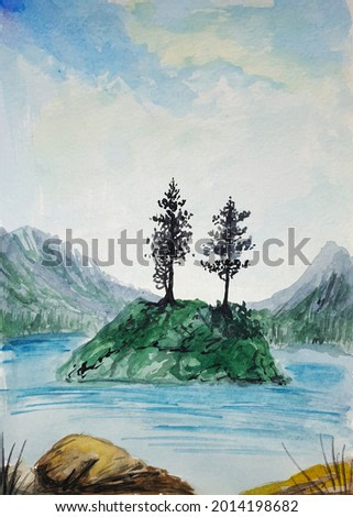 landscape with lake and island