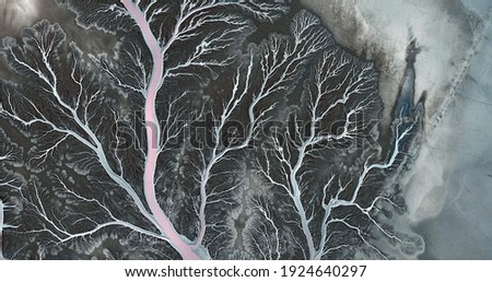 winter,  United States, abstract photography of relief drawings in  fields in the U.S.A. from the air, Genre: Abstract Naturalism, from the abstract to the figurative,