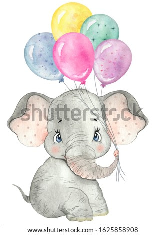 Watercolor drawing baby elephant with balloons,  little elephant, cute elephant, nursery, zoo, safari, african animal, baby cards, greetings, baby show, baby animal, funny animal, birthday party