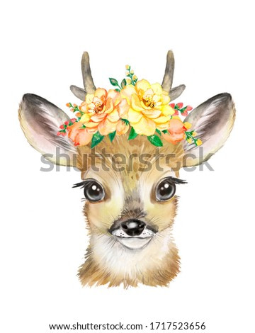 Watercolor illustration of a little deer with a floral wreath,  cute big-eyed animal, children's poster, for children, nursery art, children's illustration