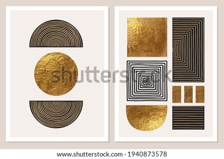 Abstract minimalist wall art composition in beige, grey, white, black colors. Simple line style. Golden geometric shapes, circles, squares design. Modern creative hand drawn background.