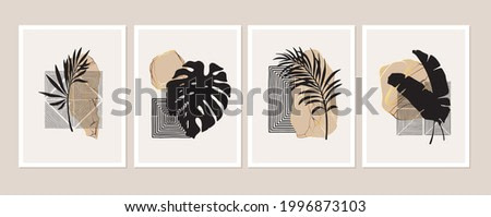 Abstract geometric minimalist wall art composition in beige, grey, white, pink, gold.  Geometric shapes, lines, black monstera, palm leaves. Wall art collage composition. Stone shapes.