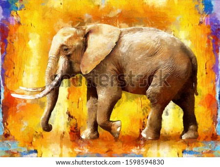 modern oil painting of elephant, artist collection of animal painting for decoration and interior, canvas art, abstract elephant on colorful background