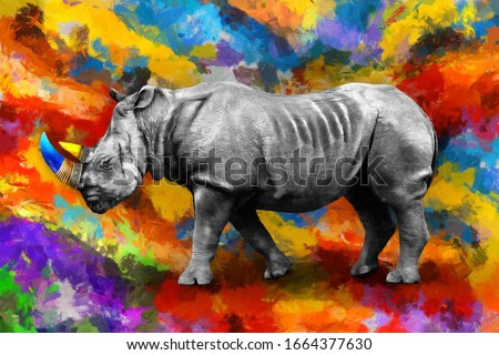 modern oil painting of rhino, artist collection of animal painting for decoration and interior, canvas art, abstract Rhinoceros on colorful background.