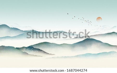 Green Chinese ink landscape painting,Traditional watercolor and ink landscape painting,Mountain and forest landscape with clouds and mist