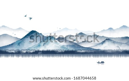 Blue ink landscape painting with ink dots,Oriental ink painting,Blue Mountain ink illustration