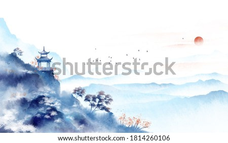 Blue ink landscape painting, oriental color ink painting.