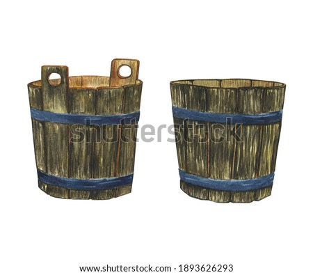 Two wooden basket isolated on white background. Watercolor hand drawing illustration. Empty pot for water or milk. Perfect for print, sticker, poster.
