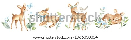 Watercolor baby deers forest woodland animals with blue flowers illustration