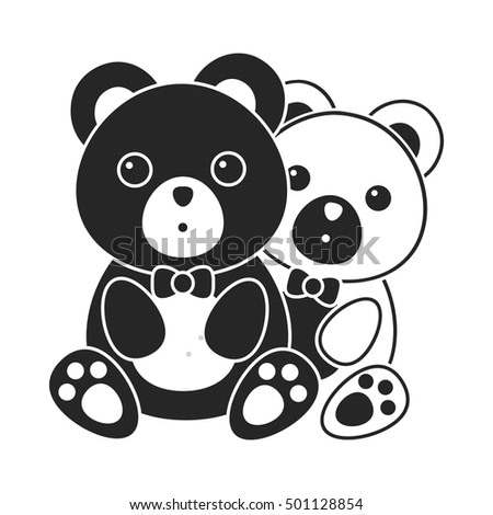 Bears icon in black style isolated on white background. Romantic symbol stock vector illustration.