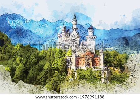 Watercolor painting with beautiful view of the famous Neuschwanstein castle,  nineteenth-century Romanesque Revival palace. You can use this image as a wall decoration in your room or for other needs.