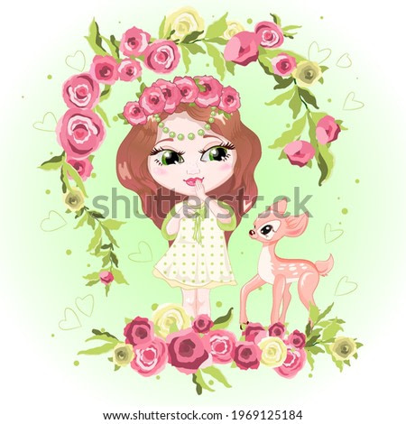 Beautiful illustration of a cute smiling girl in a wreath of flowers, standing on a meadow of flowers. Baby girl with her pet. Character with a little deer. Fashionable girl in a summer dress