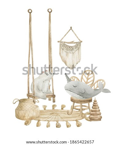 Watercolor compositions with nursery decorations. Swing for baby, chair, carpet, cute toys, polar bear, narwhal. Cozy boho home decor. Baby layroom