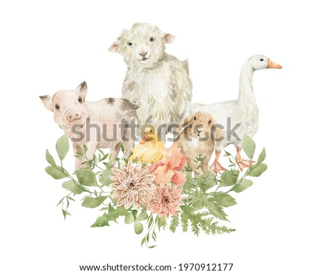 Watercolor cute farm animals and bouquets with greenery. Little goose, sheep, pig, rabbit, duckling. Adorable animals, rural mammal, domestic pet.