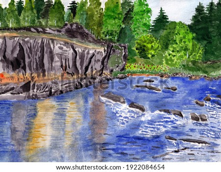 Handmade watercolor picture of the rapids on a mountain river. Colorful background for fabric, textile, wallpapers, gift wrapping paper, scrapbooking. Design for kids.