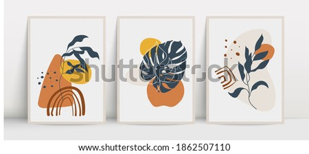 Botanical wall art vector set. Foliage drawing with abstract shapes. Abstract plant art design for print, cover, wallpaper, wall art. Vector illustration.