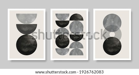 Trendy set of abstract creative minimalist artistic compositions ideal for wall decoration, as postcard or brochure design, vector illustration.