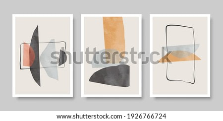 Set of abstract aesthetic watercolor minimalist hand drawn contemporary backgrounds. Vector illustration.