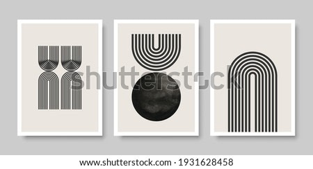 Trendy set of abstract creative minimalist artistic hand painted composition for wall decoration, as postcard or brochure design, vector illustration.
