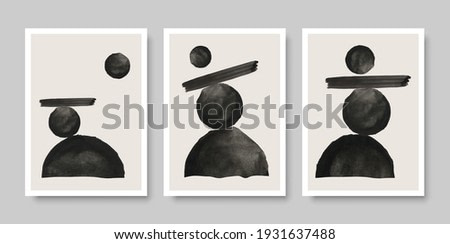 Set of modern minimal geometric posters. Watercolor monochrome shapes composition. Vector illustration.