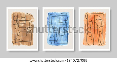 Set of abstract aesthetic creative minimalist artistic hand drawn composition ideal for wall decoration, postcard or brochure design. Vector illustration.
