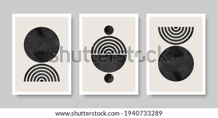Trendy set of watercolor abstract creative minimalist artistic composition ideal for wall decoration, as postcard or brochure design. Vector illustration.