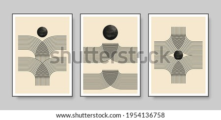 Set of minimal 20s geometric design posters with primitive shapes and lines. Vector illustration.
