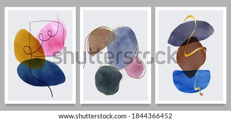 creative vector minimalist hand painted,  various shapes and organic modern art objects for background, social media, wall decoration, postcard.