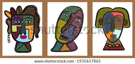 set of abstract face painting. hand drawn cubism face for wall art, t-shirt and poster design.