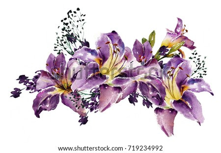 the lilies collected in a logo drawn with a watercolor