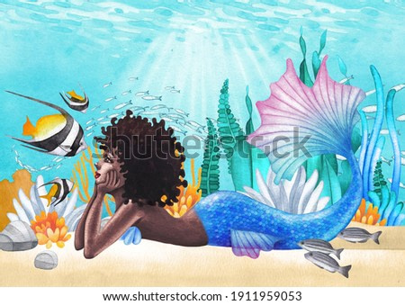 Watercolor african mermaid lies at the ocean sandy bottom among the coral reef plants and fish. Hand painted design