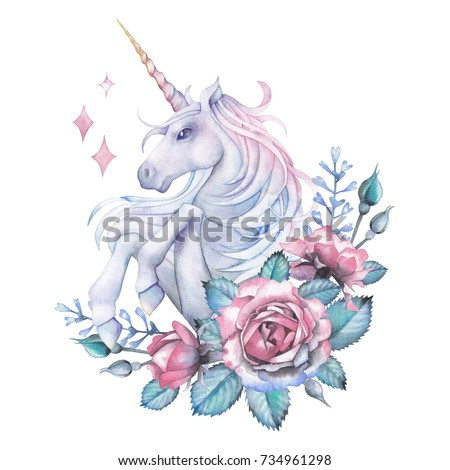 Cute watercolor design with pastel colored unicorn decorated with rose vignette. Hand painted elegant design isolated on white background